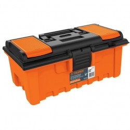 "Caja plástica con compartimentos, naranja de 14"""